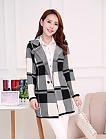 Women's Check Gray Cardigan , Casual Long Sleeve
