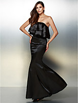 Formal Evening Dress - Black Trumpet/Mermaid Strapless Floor-length Charmeuse