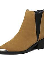 Zapatos de mujer - Tacón Robusto - Puntiagudos - Botas - Casual - Ante - Negro / Marrón