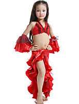 Belly Dance Outfits Children's Performance Satin / Milk Fiber Ruffles 4 Pieces Fuchsia / Green / Red