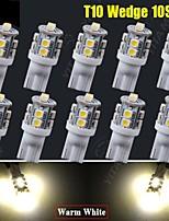 10pcs bianco caldo auto a 360 ° cuneo t10 10-SMD cupola interna mappa porta ha condotto le lampadine