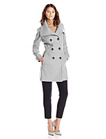 Women's Coat,Solid Notch Lapel Long Sleeve Fall Blue / Black / Gray Polyester Opaque