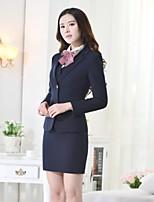 Women's Solid Blue Blazer , Work Asymmetrical Long Sleeve