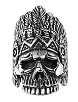 Retro Mystery Chief Skull Ring 316L Stainless Steel Titanium Easter Halloween Punk Style