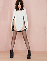 Women's Fashion Color White Pullover With Zip , Sexy / Casual Long Sleeve