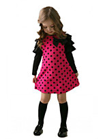 Girl's Long Sleeve Dot Color Match One Piece Dress (Cotton)