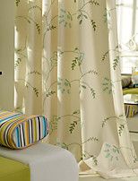 Room Darkening Linen Embroidered Green Curtain (Two Panel)