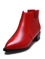 Women's Shoes Leather Chunky Heel Fashion Boots / Comfort / Pointed Toe Boots Office & Career / Casual Black / Red