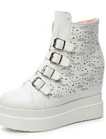 Zapatos de mujer - Tacón Cuña - Cuñas / Plataforma / Punta Redonda / Botas a la Moda - Botas - Vestido / Casual - Semicuero -Negro /