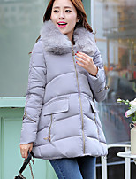 Women's Solid Blue / Pink / Red / Black / Gray Parka Coat , Casual Hooded Long Sleeve
