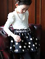 Girl's Beige Dress , Dot Cotton Winter / Fall
