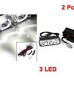 2 Pcs Car 12V White 3 LED DRL Daytime Running Light for Auto Car