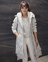 Women's Geometric / Solid Black / Yellow / Gray Parka Coat , Casual Hooded Sleeveless