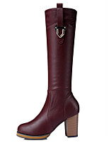 Women's Shoes Synthetic Chunky Heel Fashion Boots / Motorcycle Boots Party & Evening / Dress / Casual Black / Brown