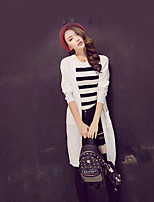 Women's Solid White / Black Cardigan , Casual Long Sleeve