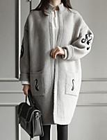 Women's Print Black / Gray Cardigan , Casual Long Sleeve