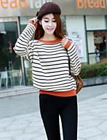 Women's Striped Black / Beige Pullover , Vintage / Casual Long Sleeve