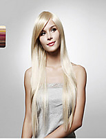 Gold Wire High Temperature Long Straight Hair Inclined Bang Wig