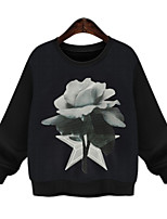Women's Floral White / Black Hoodies , Casual / Print Round Neck Long Sleeve