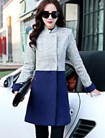 Women's Fashional Elegant Color Block Slim Coat , Casual/Work Stand Long Sleeve