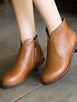 Women's Shoes All Match Fashion  Chunky Heel Bootie / Round Toe Boots Dress / Casual Black / Brown