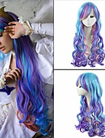 50cm Coloured Long Wavy Women Cosplay Wig Cheap Anime My Little Princess Celestia Cosplay Synthetic Women's Wigs