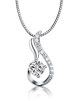 925 Sterling Silver CZ Stone Water Drop Shape Pendant Necklace Fashion Jewelry
