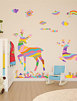 Wall Stickers Wall Decals, Merry Christmas Cartoon Colors Deers PVC Wall Stickers