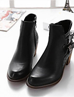 Women's Shoes Chunky Heel Pointed Toe Boots Casual Black / Beige