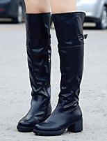 Zapatos de mujer - Tacón Robusto - Punta Redonda / Botas a la Moda - Botas - Casual - Semicuero - Negro