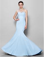 Brautjungfernkleid - Himmelblau Chiffon - Meerjungfrau-Linie / Mermaid-Stil - bodenlang - Herz-Ausschnitt