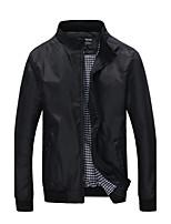 Men's Long Sleeve Jacket , Cotton Casual / Plus Sizes Pure