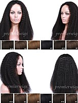 Premierwigs 8A 10''-24'' Kinky Curly Soft Full Brazilian Virgin Lace Front Wigs Natural Hairline No Reason Return