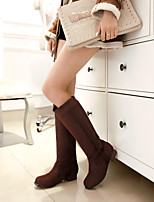 Women's Shoes Leatherette Flat Heel Round Toe Boots Outdoor / Casual Black / Blue / Brown / Red / Beige