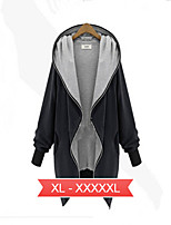 Women's Solid Black/Green Jackets , Casual Hooded Long Sleeve