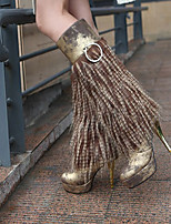 Women's Shoes Leatherette Stiletto Heel Heels / Platform / Office & Career / Casual Black / Brown