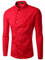 Men's Long Sleeve Shirt , Cotton Blend Casual / Work Pure