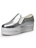Women's Shoes Leather Platform Comfort / Round Toe Loafers Outdoor / Office & Career / Dress / Casual Silver