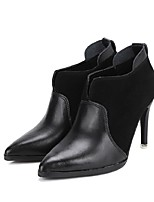 Women's Shoes Leather / Suede Stiletto Heel Bootie Boots Dress / Casual Black / Brown