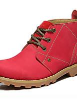 Zapatos de mujer - Tacón Plano - Botas Anfibias / Botas de Moto - Botas - Exterior / Casual / Deporte - Cuero - Marrón / Rojo