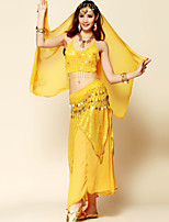 Belly Dance Outfits Women's Performance Chiffon / Chinlon Sequins / Tassel(s) 4 Pieces Fuchsia / Red / Yellow