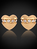 InStyle 18K Chunky Gold Plated Heats Stud Rhinestone Earrings High Quality
