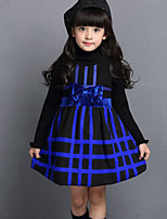 Girl's Blue / Red Dress , Check Polyester Winter / Spring / Fall