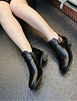 Zapatos de mujer - Tacón Robusto - Punta Redonda - Botas - Casual - Semicuero - Negro / Oro