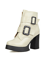Women's Shoes Chunky Heel Fashion Boots / Comfort Boots Outdoor / Office & Career / Dress / Casual Black / White