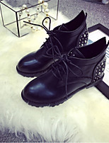 Women's Shoes Leatherette Flat Heel Round Toe Boots Casual Black / Red / Gray