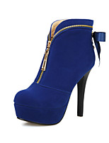 Women's Shoes Fleece Stiletto Heel Fashion Boots Boots Party & Evening / Dress Black / Blue / Red
