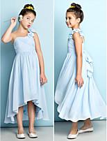 A-linje En Skulder - Himmelblå Asymmetrisk Chiffon Junior brudepikekjole