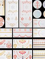 13pcs Christmas Tree Snowflake Temporary Gold Silver Flash Metallic Tattoos Sticker Jewelry Waterproof Flowers