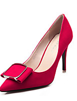 Women's Shoes Suede Stiletto Heels / Pointed Closed Toe Heels Wedding/Office Career / Party Evening / Dress Black / Red